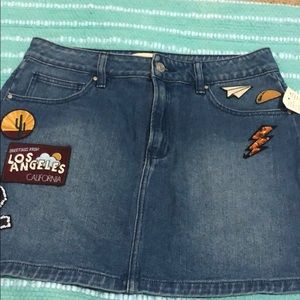 Pacsun Jean skirt with patches